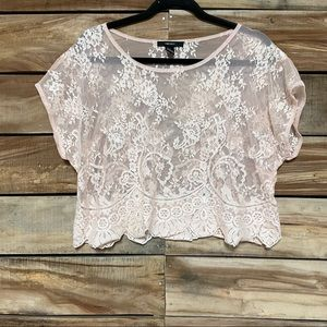 lace top pink forever 21 medium floral mesh
